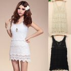 Lace Crochet Embroidered Sleeveless Mini Sun Dress Bikini Beach Cover Up UA366