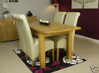 SOLID CHUNKY OAK EXTENDING DINING TABLE SET AND 4 CHAIRS LEATHER OAK FABRIC