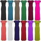 Ladies Cap Sleeves Womens Bodycon Stretchy Girls Long Celebrity Top Maxi Dress