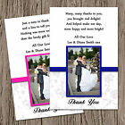 Personalised Wedding Photo Thank You Cards + Envs Pink, Blue, Many Colours T1P
