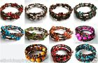 ETHNIC INSPIRED TRIBAL WOMENS ACRYLIC GLASS BEAD SMALL WRAP AROUND CUFF BRACELET
