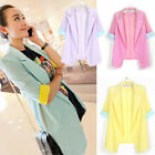 New Hot  Womens Candy Color Chiffon Mediem Sleeve Blazer Lapel Suits Tops Jacket