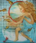 "Needlepoint canvas ""Lady in Bathroom.Pisces"""