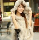 C029  Sweater pullover Poncho Rabbit Fur Jacket Coat Shawl Cape hooded