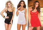 Embroidered Mesh Sheer Underwire Babydoll Chemise G-String Lingerie Set 4864