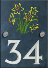 Bespoke Slate House Number with a Selection of Engraved Motifs