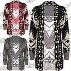 New Ladies Open Front Long Sleeves Boyfriend Knitted Womens Sweater Cardigan Top