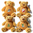 """Personalised 17"""" Christmas Teddy Bear 7 Designs Gold, Mumbles/1st Baby Christmas"""