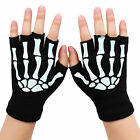 Cycling Glowing Skull Bone Skeleton Goth Racing Full Finger Black Graphic Gloves