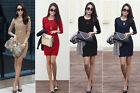 Fashion Women's Winter OL Slim Hip Step Skirt Long Sleeve Cotton Knit Dress