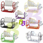 2 Tier Metal Chrome Dish Drainer with Glass Utensil Cutlery Caddy & Drip Tray