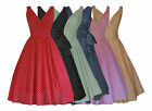 VINTAGE RETRO STYLE POLKA DOT PRINT ROCKABILLY FULL CIRCLE FLARED DRESS 8 - 22