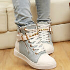 Women's Girls spike canvas sneaker buckle tennies platform creeper shoes Fashion