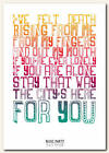 BLOC PARTY - Day Four - song lyric poster typography art print - 4 sizes