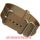 PREMIUM ZULU 5 Ring OLIVE BROWN military diver's watch strap band NYLON new