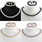 RARE GENUINE 8-9MM FRESHWATER CULTURED PEARL NECKLACE BRACELET & EARRINGS SET