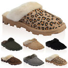 Ladies Faux Suede Fur Womens Mule Slip On Grip Slippers Casual Shoes Size 3-8