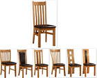 100% Solid Oak Dining Chairs With PU Seat Pad Set Of 2 Choose Favorite Design