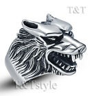 Top Quality TTstyle 316L Stainless Steel 3D Wolf Ring Size 6-16