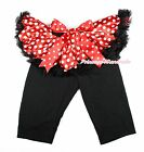 XMAS Minnie Tutu Black Legging Minnie Dots Bow Dress Pettiskirt Pants Tight 1-7Y