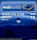 WSB Barbless Eyed Hooks Sizes  4 - 18 Carp Coarse Fishing