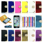 Magnetic Flip PU Leather Pouch Wallet Hard Case Cover Film For iPhone 5 5S 5C 5G