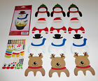 12 Cupcake Muffin Decoration Toppers Rudolph Santa Snowman Penguin & Stickers