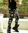 1809 Boutique Funky Skull Sagging Pants Velvet Fleece Lined Trendy & Warm Denim