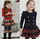New Kids Toddlers Girls Lovely Plaid Long Sleeve Cotton Age 2-8Years Tutu Dress