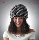 New Fashion Top Quality Fashion Real Knit Rabbit Fur Hat Girls Caps Elastic Sale
