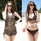 New Boho 3 Pcs Push Up Bikini Set Lace dress Cover Up Bademode Badeanzug GW534