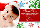 10 Personalised Christmas Greeting Thank You Card Unisex Boy Girl Snowflakes