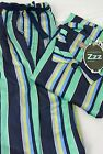 PETER ALEXANDER - Mens Classic Cotton PJ Set - Green Stripe -Select your size