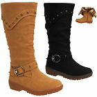 Kids Girls Cowboy Casual Winter Studded Buckle Mid Calf Boots Shoes UK Size 12-3