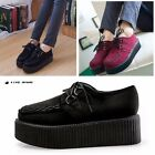 Women Creeper Shoes Lace Up Suede Punk Goth High Platform Wedge Flat Ankle Boots