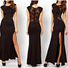 Womens Lace See-through Back Slim Bodycon Split Side Long Party Evening Dress