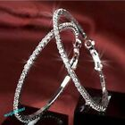 New Fashion Clear Crystal Rhinestone Circle Round Hoop Charm Earrings 2 Colors