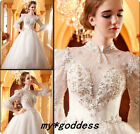 2014 Ball Bow Sequin white/ivory Lace wedding dresses Bridal Gowns Custom Size
