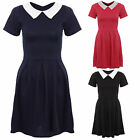 Womens Ladies Cap Sleeves Peter Pan Collar Franki Pleated Skirt Skater Dress6-14