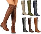 Breckelle's ALABAMA-13 Women's Over Knee High Lace Up Zipper Spike Combat Boots