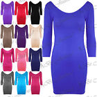 Ladies Stretchy 3/4 Sleeved Party Scoop Neck Plain Bodycon Womens Mini Dress Top