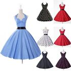 Vintage Polka Dots Retro 50s 60s Halter Rockabilly Housewife Dress Party Dresses