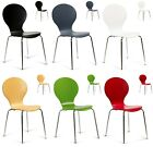 2 x Stacking Dining Chairs Keeler Metal Wood Cafe Red Green White Black Natural