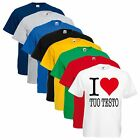 T-SHIRT UNISEX I LOVE YOUR TEXT TUO TESTO LOGO PERSONALIZZATA
