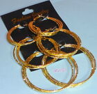 CREOLE HOOP EARRINGS GOLD/SILVER TONE PLATED FINISH PACK OF 3 COSTUME JEWELLERY