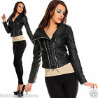 LADIES WOMENS PU FAUX LEATHER ZIPPED BOMBER BIKER BLACK JACKET COAT SIZE 6 to 12