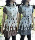 New Vintage  women trendy chic neckturtle lovely cat dot mini dress GB-30