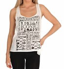 "E.vil Womens Silk Printed Tank Top with ""Iconic"" White"
