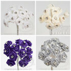 DIAMANTE RIBBON ROSE FLOWERS WEDDING WIRED SMALL FAVOUR DECORATION