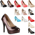 Damen Plateau Pumps High Heels Lack Stilettos 71065 Gr. 36-41 New Look